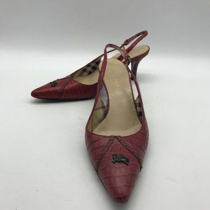Burberry Red Slingback Heel 6.5